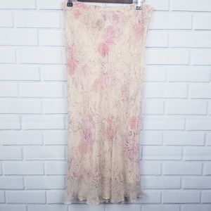 Papell Petites Silk Pink Cream Floral Maxi Skirt